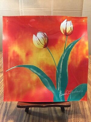 "Fused Art Glass Plate 9.5"" Square Wavy Red orange flowers yellow Busch Gardens"