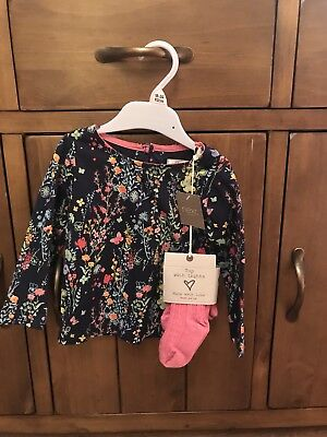 Next Girls Top With Tights 12-18 Months BNWT