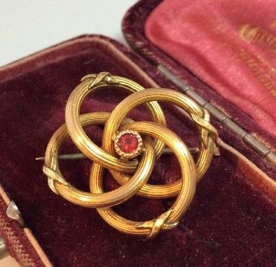 Vintage Art Nouveau Jewellery lovely Signed Gold Plated knot Brooch