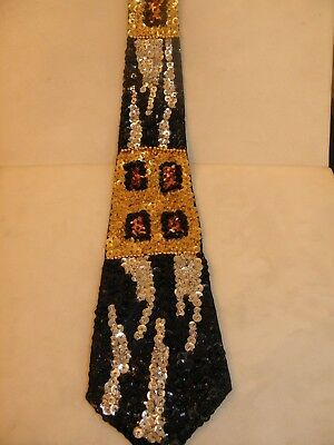 Sequin Neck Tie Necktie Leopard Zebra Animal Pattern Entertainer Dj Jazz Music