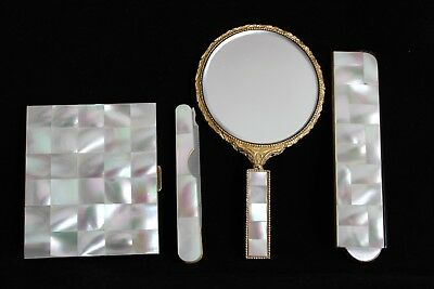 Schildkraut Mother of Pearl Purse Set: Comb, Compact, Mirror, Nail File