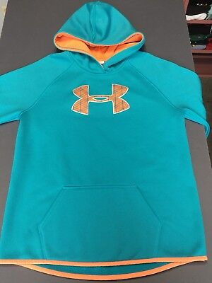 Under Armour STORM Big Logo Hoodie Youth XL Turquoise Orange EUC YOUTH GIRLS