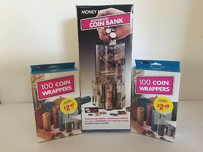 Money Mill Motorized Coin Bank and over 200 coin wrappers - very good condition!