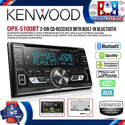 Kenwood DPX-5100BT Double Din Dual Bluetooth Cd Mp3 Aux Usb & Iphone Android