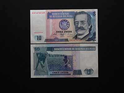 Peru Banknotes Excellent 10 Intis 1987  -  Quality Artwork and images  MINT UNC