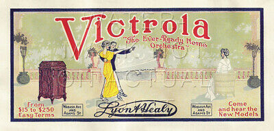 """21"""" X 42"""" Reproduced Victor Victrola - Lyon & Healy Advertisement Canvas Banner"""