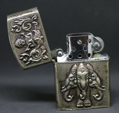Vintage Sterling Siam Thailand Silver Repousse Elephant & Shiva Lighter