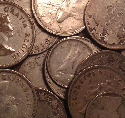 Big Lot Of Silver Canada 25 Cents And 10 Cents Quarters And Dimes 22 Coins Total