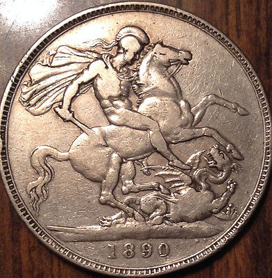 1890 Uk Gb Great Britain Silver Crown A Very Good Example!