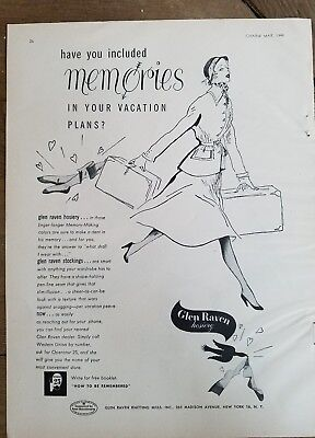 1949 women's Glen Raven Hosiery stockings included memories in vacation plans ad