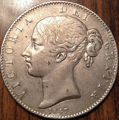 1847 Uk Gb Great Britain Silver Crown In Beautiful Condition !