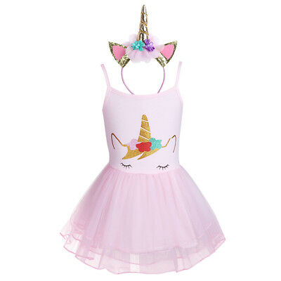 Girls Unicorn Outfit Tutu Dress Party Princess Costume Set Kid Baby Ballet Dance