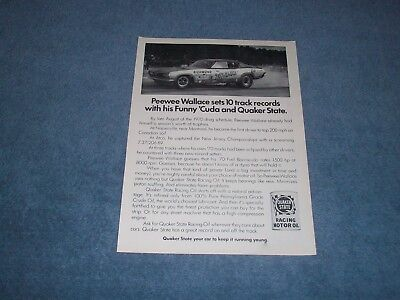 1970 Quaker State Racing Oil Vintage ad with Peewee Wallace Virginian Funny Car