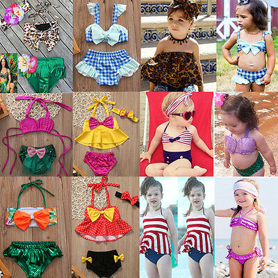 USA Fashion Kid Baby Girls Swimsuit Swimwear Bathing Suit Tankini Bikini Costume