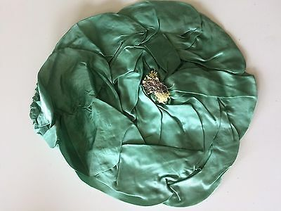 Antique Green Silk Pillow Cover Boudoir Round Fabric Vintage 20s 30s