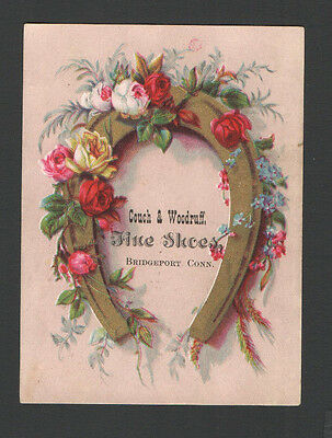 Advertising Trade Card Horseshoe Couch & Woodruff Fine Shoes Bridgeport Conn