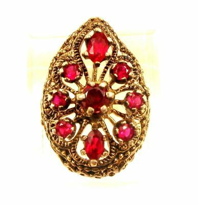 Vintage Deep Red Garnet Gemstone Gold Filled Filigree Cocktail Ring*Sz 6.5*x59