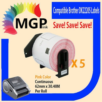 5 Compatible for Brother DK-22205 Continuous Pink Roll -62mm x 30.48m QL570