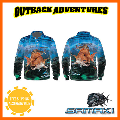 Samaki Red Snapper Long Sleeve Fishing Shirt - Adult Size - S - Small