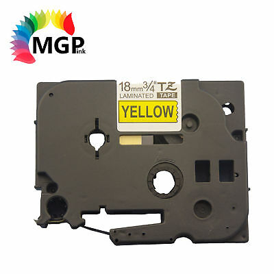 50X LAMINATED 18mm BK on Yellow Label Tape for Brother TZ641 PT-9700PC PT9800PCN