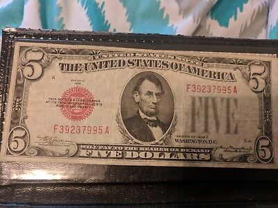 Rare Left Side Large Red Seal 1928-C Double Dated Five Dollar Bill Us Note