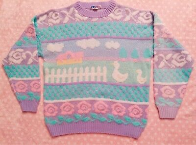 "Vtg 80s 90s Rose Pastel Sparkly Fairy Kei Duck Goose Kawaii Sweater 42"" Chest"