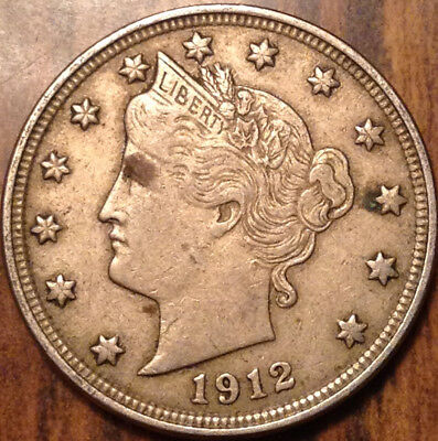 1912 Usa 5 Cents Liberty In Great Condition !