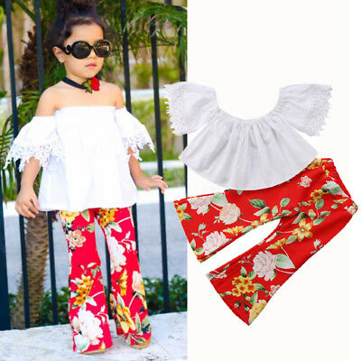 US Stock Kids Baby Girl Lace Floral Off Shoulder Top Blouse Pants Outfit Clothes