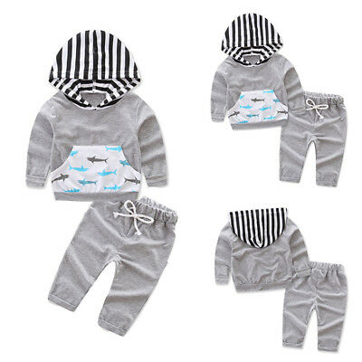 New Baby Boys Girls Stripes Hooded Tops Coat Long Pants Outfits Clothes US Stock