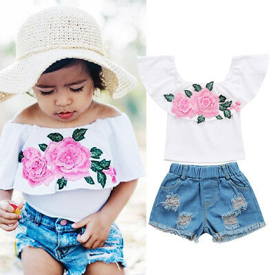 US Stock Kids Baby Girls Floral Tops Denim Shorts Pants 2pcs Clothes Outfits Set