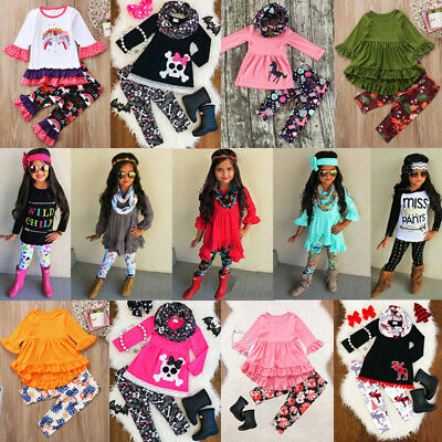 US Toddler Kids Baby Girls Flower Unicorn Top T-shirt Dress Legging Pants Outfit