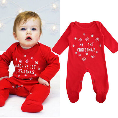 US Stock Toddler Infant Baby Girl Clothes Romper Jumpsuit Christmas Outfit 3-18M