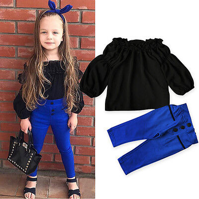 US Seller Kid Baby Girl Outfit Off Shoulder Shirt T-shirt Top+Long Pants Clothes