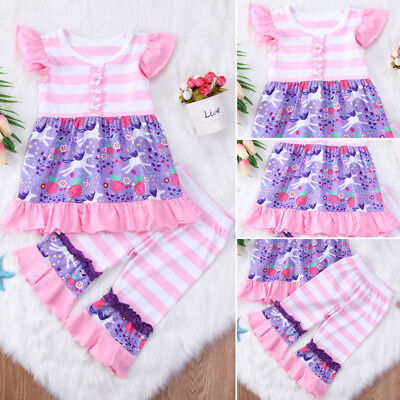 US Stock Unicorn Kids Baby Girls Outfits Clothes Romper Tops Dress Striped Pants
