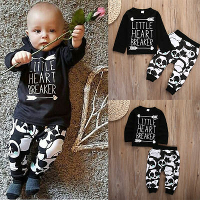 USA Toddler Infant Newborn Baby Boy Girl T-shirt Tops+Pants Outfits Clothes 2Pcs