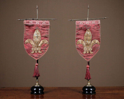 Antique Pair 19th.c. Fleur De Lis Pennants On Stands c.1860