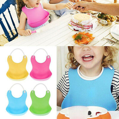 UK Solid Soft Silicone Waterproof Feeding Weaning Baby Bib Aprons For Boy Girl B
