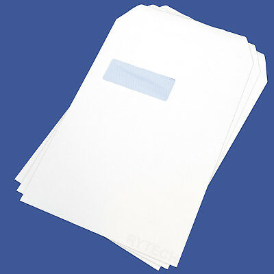 100 X White C4 / A4 Window Self Seal Envelopes 90GSM Opaque Letter Pack Office