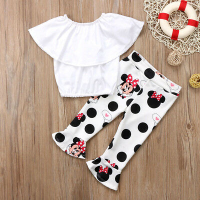 Toddler Kids Girls Off Shoulder White Tops Minnie Bell-Bottom Clothes Outfit Set