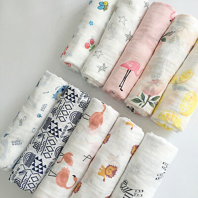 "NEW Baby Swaddle Blanket 100% Cotton 47""*47"" Baby Sleeping Swaddle Muslin Wrap U"