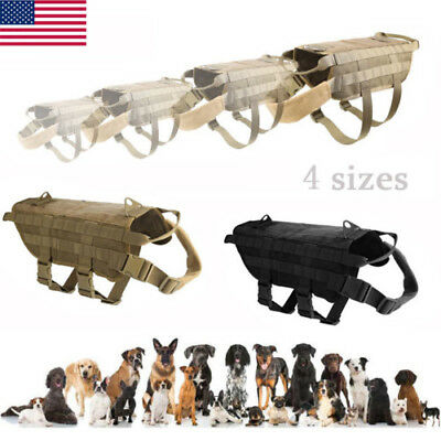 Tactical Dog Hunting Training Vest Harness Military Police Molle Service Nylon