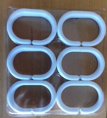 White Plastic Shower Curtain Hooks (12) Brand new in packet 6 x 4cm Crafts Art