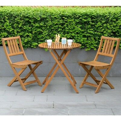 Wooden Bistro Set 2 Seater Patio Foldable Table And Chair Balcony Folding  Seat