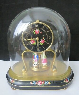 Rare 1950's West German Kern Mantel Clock With Glass Dome