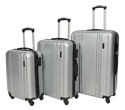 Hard Shell ABS 4 Wheel Spinner Suitcase Travel Luggage Lightweight Silver