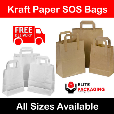 Large Kraft Paper SOS Carrier Bags Brown or White Flat Handles Takeaway Gifts