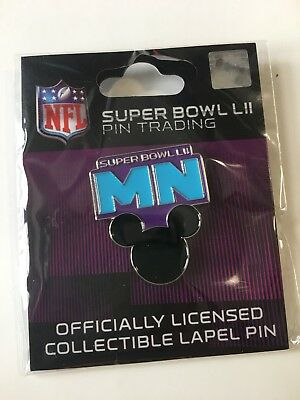 NFL Super Bowl 52 LII 2018 Lapel Trading Pin Mickey Mouse Walt Disney Wincraft