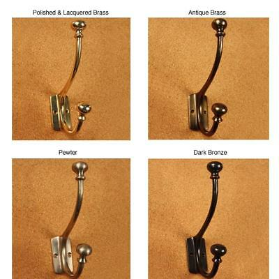 Solid Brass Mission Style Mushroom Motif Double Coat Hooks Brown