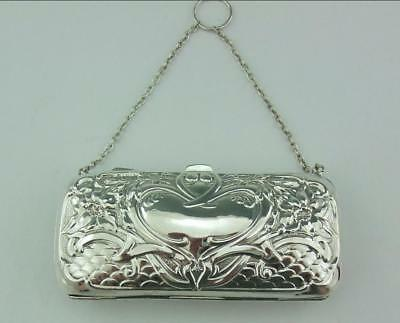 Edwardian Art Nouveau English Solid Silver Dance  Purse