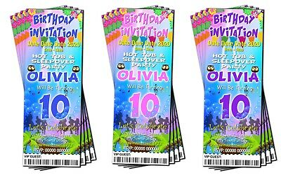BIRTHDAY PARTY INVITATIONS Personalised Hot Tub Pink Blue and Red Ticket Style